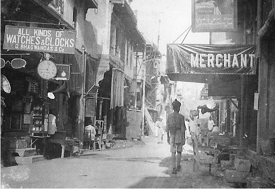Old-and-rare-Photos-of-Karachi-Old-photo-of-shops-in-a-street-in-Karachi-Old-and-rare-Pictures-of-Karachi